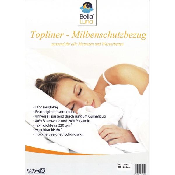 Wasserbett Matratzen Auflage Staubschutz Topliner Milbenschutz Bella Luna 180-200 x 200-220cm